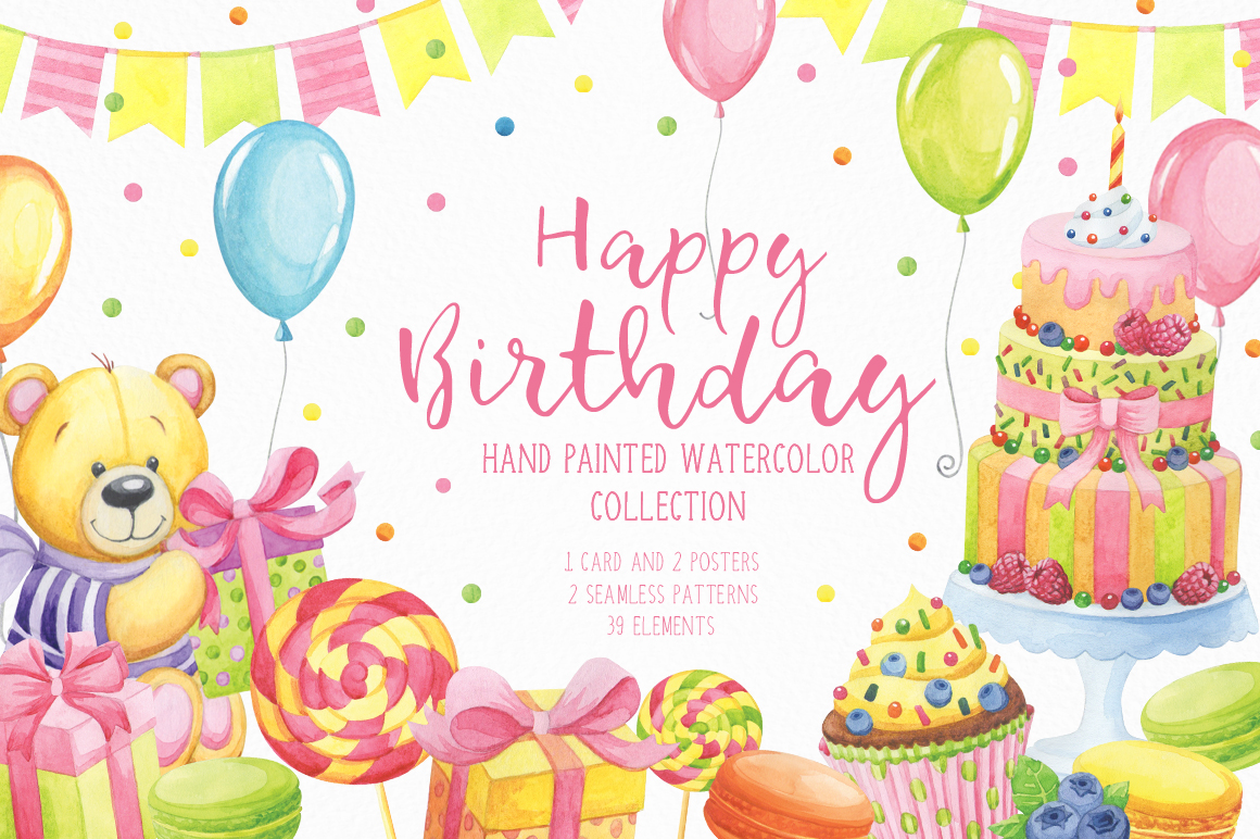 Download Free Happy Birthday Watercolor Collection Grafico Por Nata Art for Cricut Explore, Silhouette and other cutting machines.