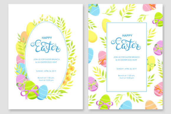 Print on Demand: Happy Easter Invitations Vector Set Graphic Print Templates By Nata Art Graphic - Image 2