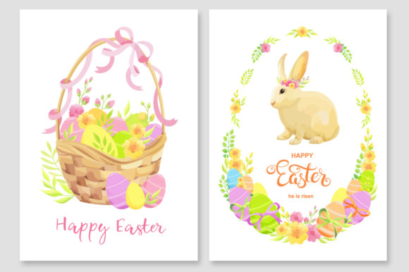 Print on Demand: Happy Easter Invitations Vector Set Graphic Print Templates By Nata Art Graphic - Image 3