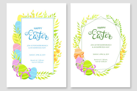 Print on Demand: Happy Easter Invitations Vector Set Graphic Print Templates By Nata Art Graphic - Image 5