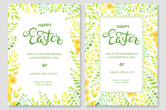 Print on Demand: Happy Easter Invitations Vector Set Graphic Print Templates By Nata Art Graphic - Image 6