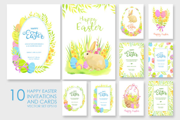 Happy Easter Invitations Vector Set Graphic By Nata Art Graphic