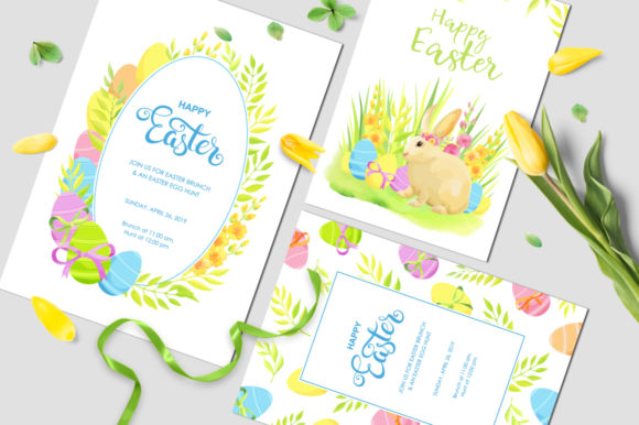 Print on Demand: Happy Easter Invitations Vector Set Graphic Print Templates By Nata Art Graphic - Image 7
