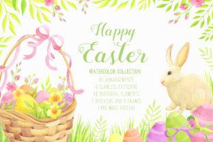 Download Free Happy Easter Watercolor Collection Graphic By Nata Art Graphic for Cricut Explore, Silhouette and other cutting machines.