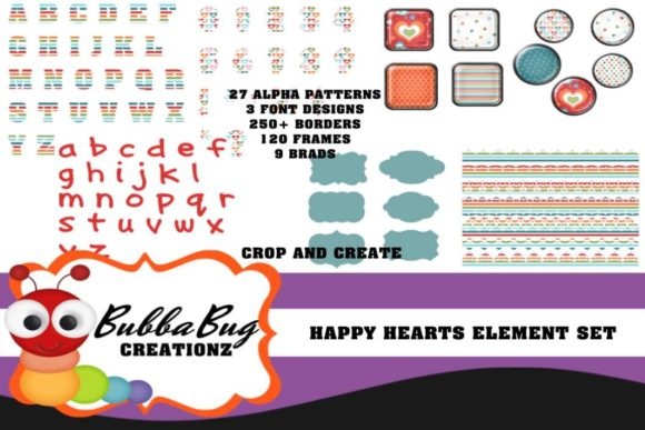 Happy Hearts Element Set Graphic Crafts By BUBBABUG