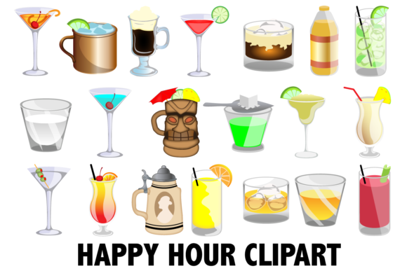 Print on Demand: Happy Hour Clipart Graphic Illustrations By Mine Eyes Design