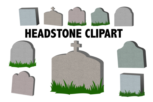 Print on Demand: Headstone Clipart Graphic Illustrations By Mine Eyes Design