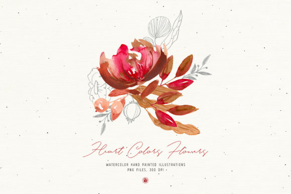 Print on Demand: Heart Colors Flowers Graphic Illustrations By webvilla - Image 2