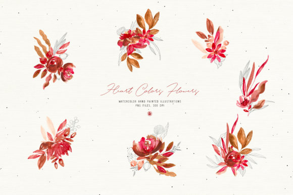 Print on Demand: Heart Colors Flowers Graphic Illustrations By webvilla - Image 6