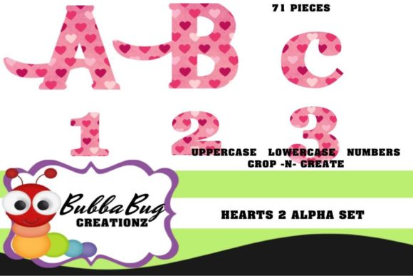 Hearts 2 Alpha Set Graphic Crafts By BUBBABUG