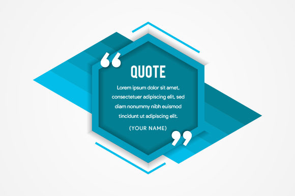 Print on Demand: Hexagon Quote Blue Graphic Web Elements By noory.shopper
