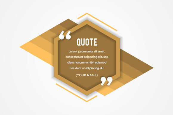 Print on Demand: Hexagon Quote Gold Graphic Web Elements By noory.shopper