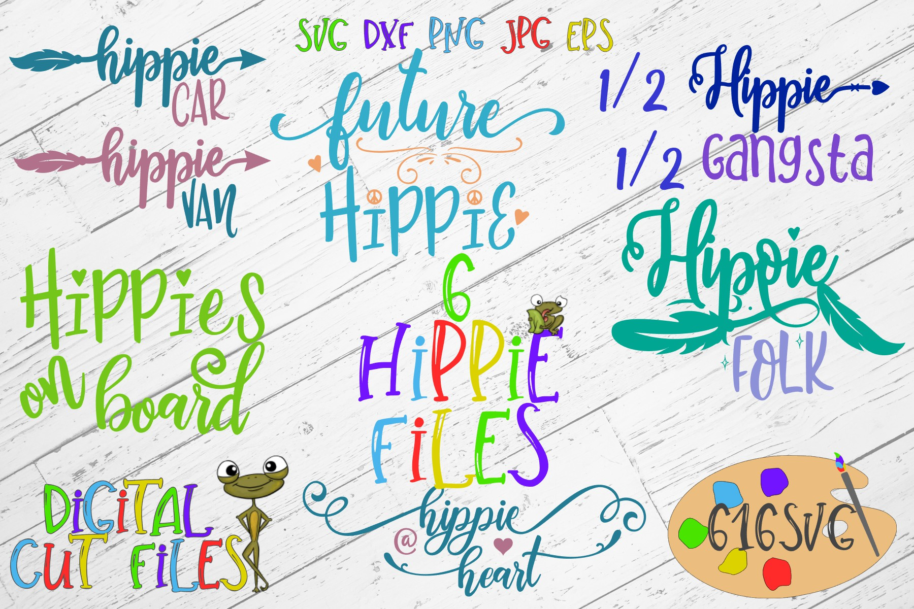 Download Free Hippie Themed Mini Bundle Svg Graphic By 616svg Creative Fabrica for Cricut Explore, Silhouette and other cutting machines.