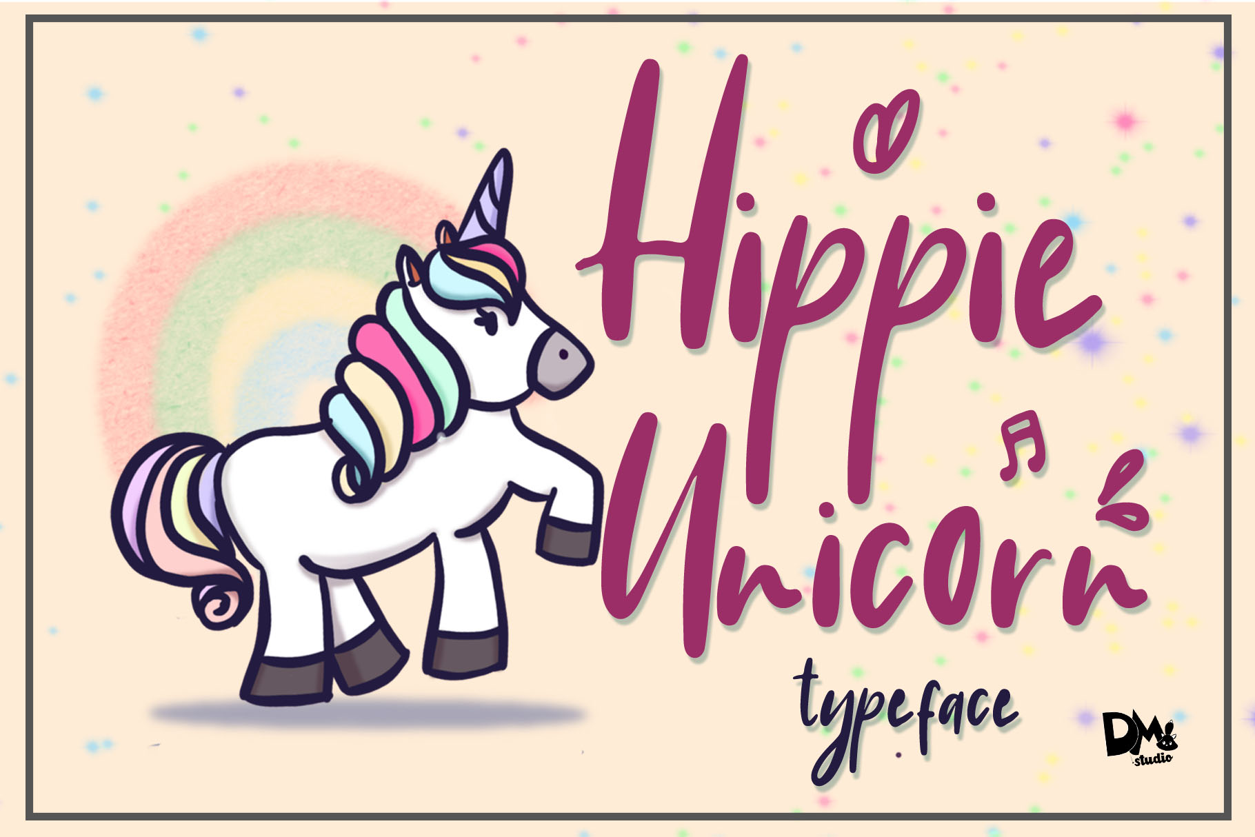 Download Free Hippie Unicorn Font By Dmletter31 Creative Fabrica for Cricut Explore, Silhouette and other cutting machines.