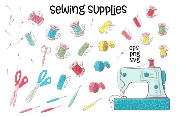 Print on Demand: Hobby Sewing Vector Clip Art Graphic Illustrations By nicjulia - Image 3