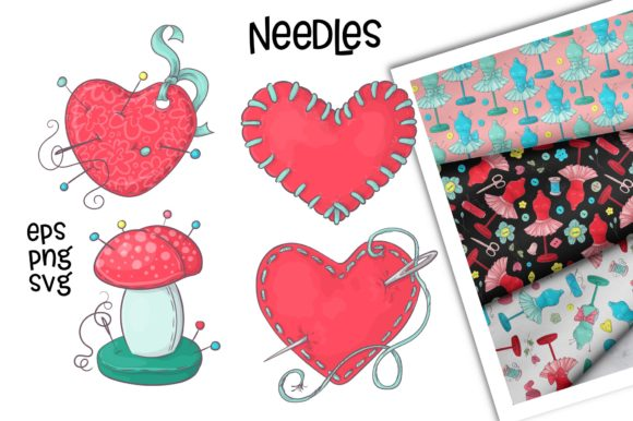 Print on Demand: Hobby Sewing Vector Clip Art Graphic Illustrations By nicjulia - Image 5