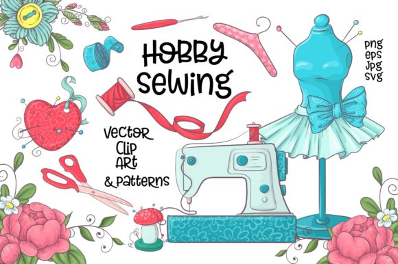 Print on Demand: Hobby Sewing Vector Clip Art Graphic Illustrations By nicjulia
