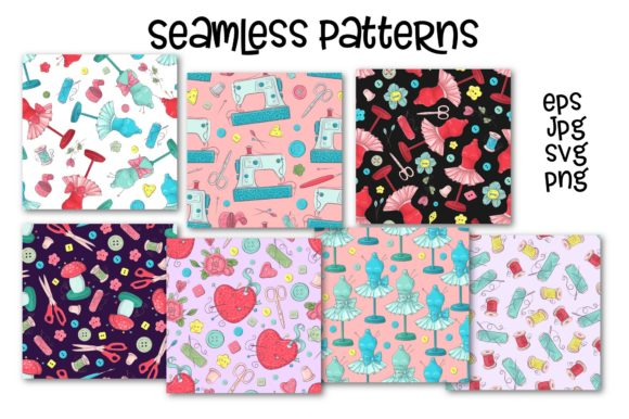 Print on Demand: Hobby Sewing Vector Clip Art Graphic Illustrations By nicjulia - Image 9