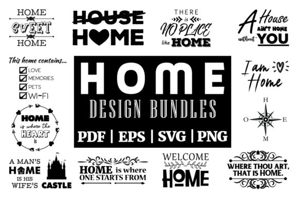 Print on Demand: Home Inspirational Designs Vector Bundle Graphic Print Templates By yumiguelgfxartshop - Image 1