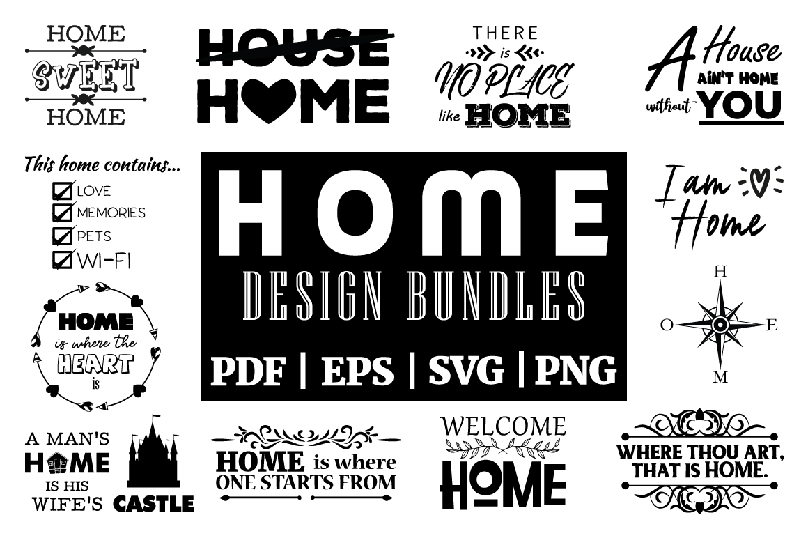 Download Free Home Inspirational Designs Vector Bundle Graphic By for Cricut Explore, Silhouette and other cutting machines.