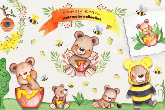 Print on Demand: Honey Bears Watercolor Collection Graphic Illustrations By tanatadesign