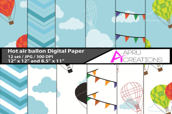 Hot Air Ballon Digital Papers Graphic By aparnastjp
