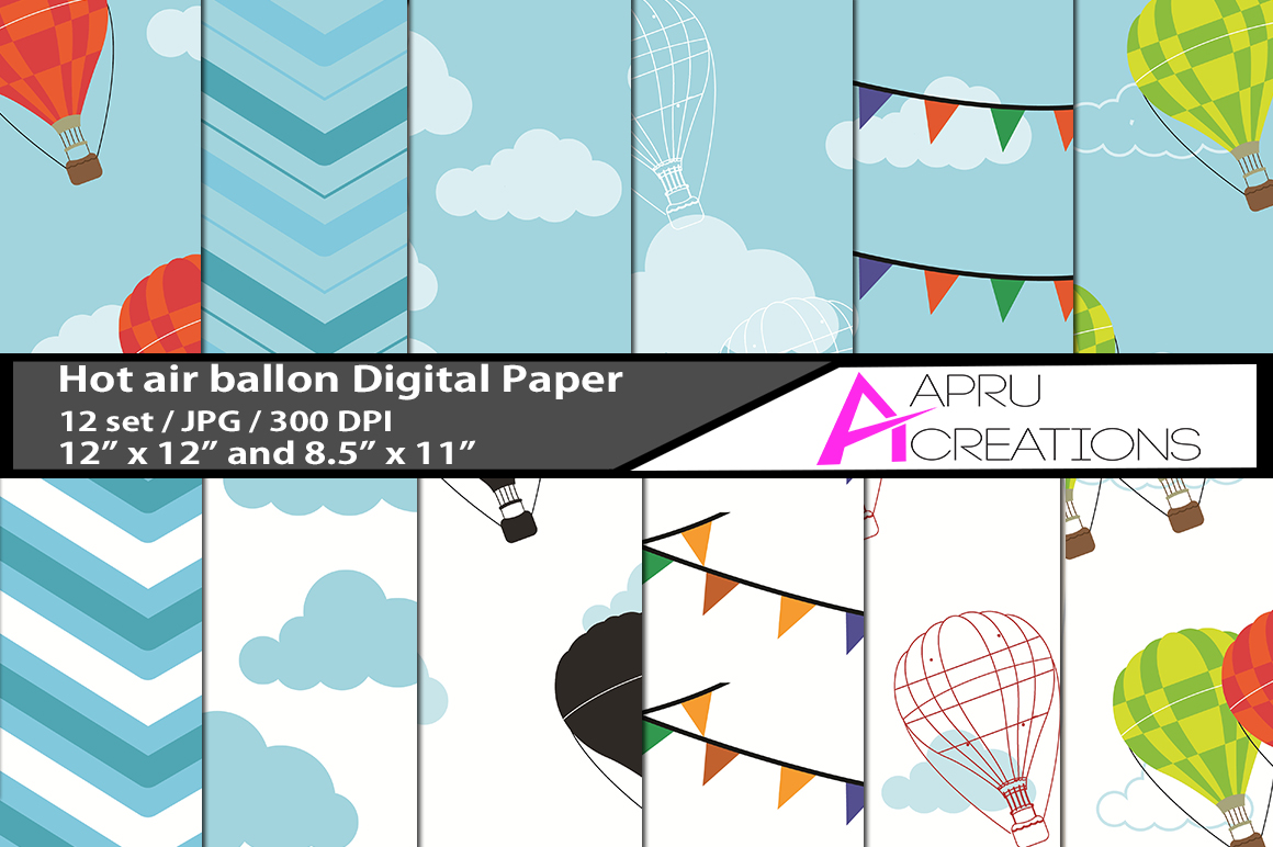 Download Free Hot Air Ballon Digital Papers Graphic By Aparnastjp Creative for Cricut Explore, Silhouette and other cutting machines.
