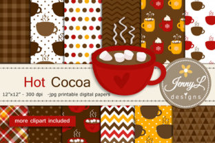 Hot Cocoa Digital Papers and Clipart Graphic By jennyL_designs