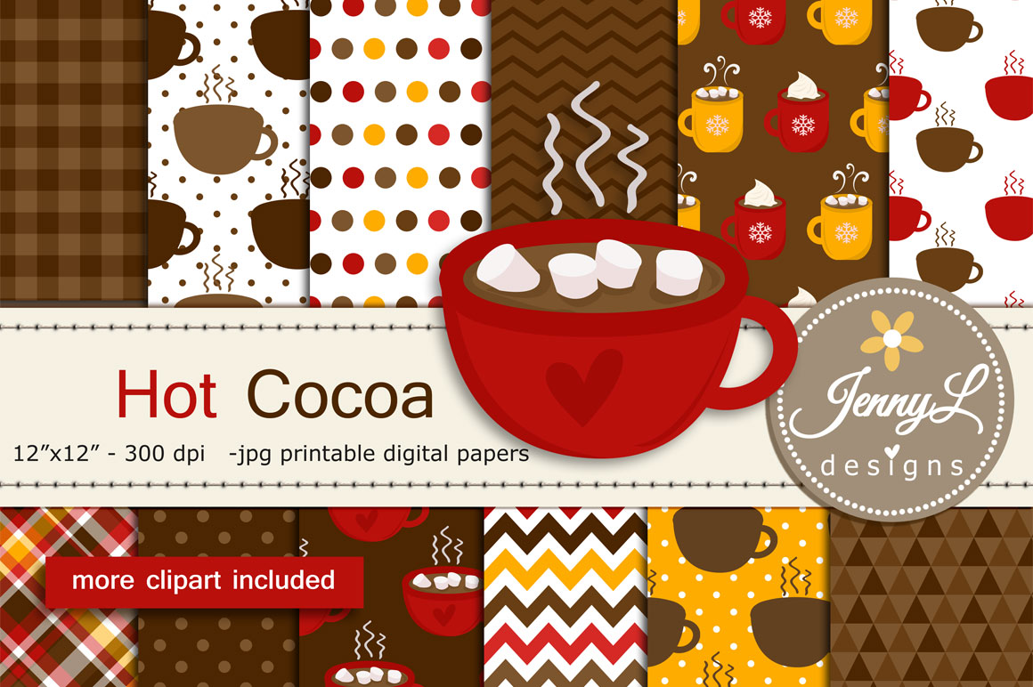 Download Free Hot Cocoa Digital Papers And Clipart Graphic By Jennyl Designs for Cricut Explore, Silhouette and other cutting machines.