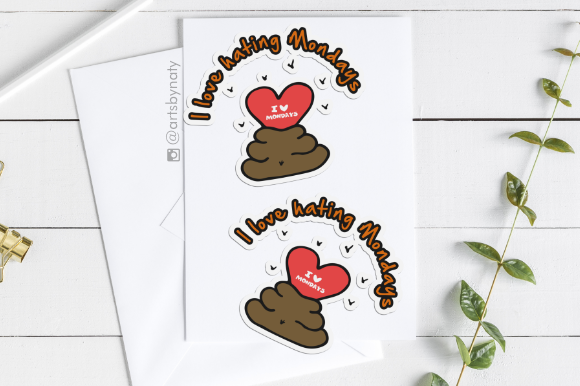 Print on Demand: I Love Hating Mondays Illustration Graphic Illustrations By artsbynaty - Image 2