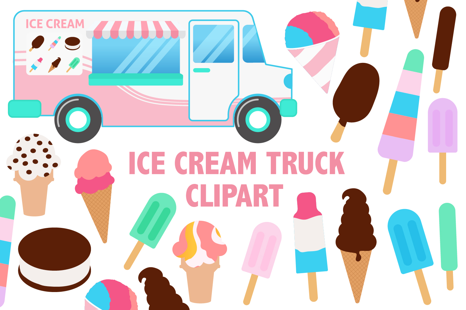 Download Free Ice Cream Truck Clipart Graphic By Mine Eyes Design Creative for Cricut Explore, Silhouette and other cutting machines.