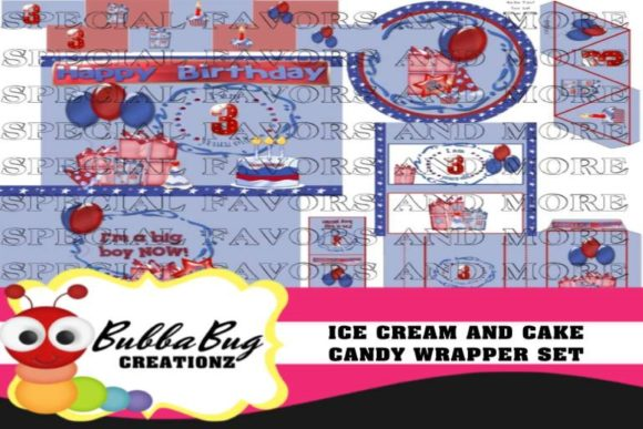 Ice Cream and Cake Candy Wrapper Set Graphic Crafts By BUBBABUG