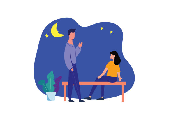 Download Free Illustration Of Woman And Man Talking Graphic By Nurionart for Cricut Explore, Silhouette and other cutting machines.