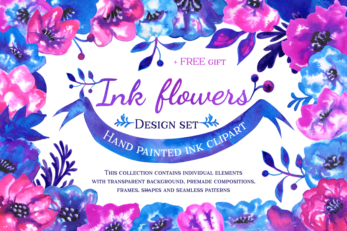 Download Free Ink Flowers Graphic By Annamagenta Creative Fabrica SVG Cut Files