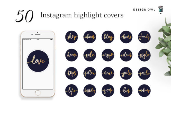 Instagram Highlight Covers Gold Script Graphic Icons By Design Owl