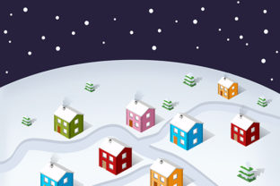 Download Free Isometric City Christmas Graphic By Alexzel Creative Fabrica for Cricut Explore, Silhouette and other cutting machines.