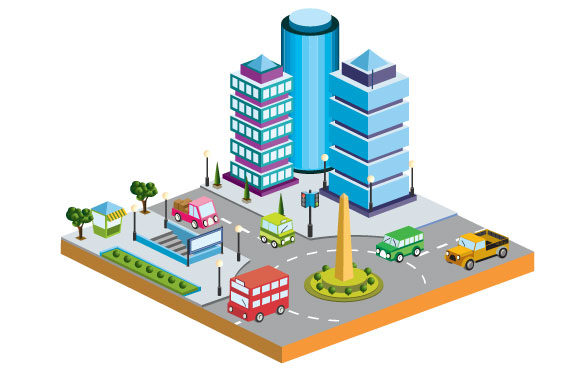 Print on Demand: Isometric City  Vector Graphic Illustrations By AlexZel