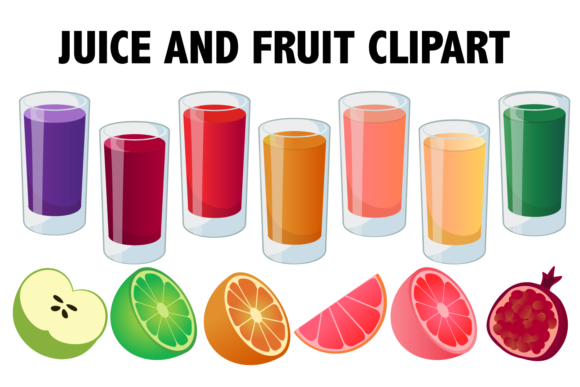 Print on Demand: Juice and Fruit Smoothie Clipart Graphic Illustrations By Mine Eyes Design