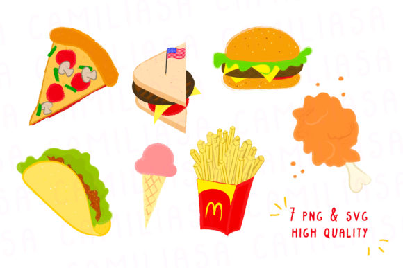 Download Free Junk Food Fast Clipart Graphic By Inkclouddesign Creative Fabrica for Cricut Explore, Silhouette and other cutting machines.