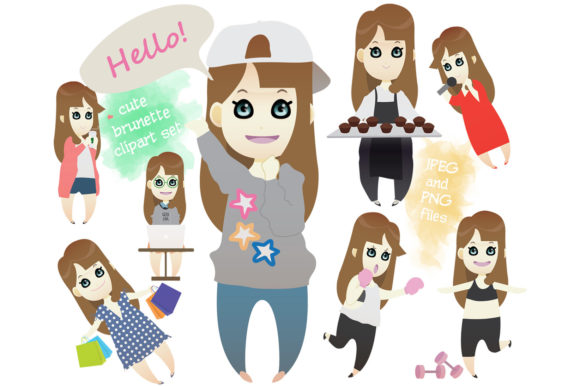 Print on Demand: Kawaii Cute Brunette Girl, Brown Graphic Illustrations By CrafterOks - Image 1