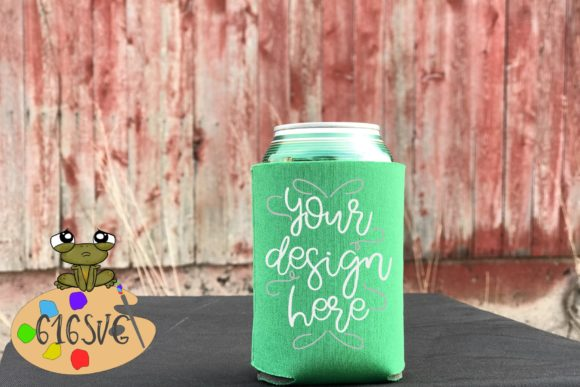 Kelly Green Can Cooler Mockup Graphic By 616SVG