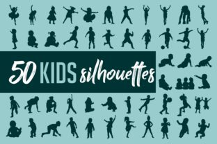 Download Free Kids Silhouette Collection Vector Grafico Por Woplolqow for Cricut Explore, Silhouette and other cutting machines.