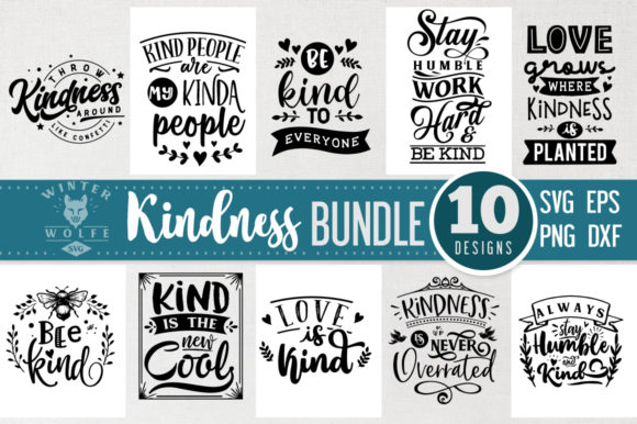 Kindness Bundle 10 Files Vol 1 Graphic Crafts By WinterWolfeSVG