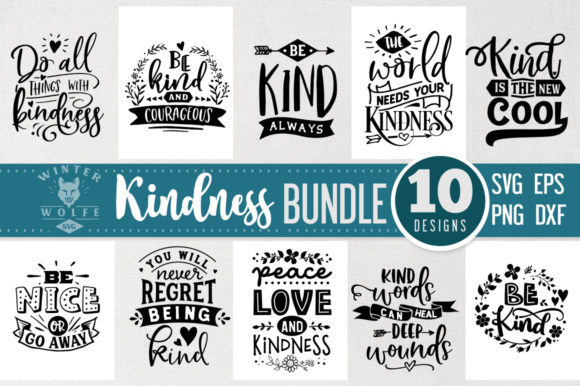 Kindness Bundle 10 Files - Vol 2 Graphic Crafts By WinterWolfeSVG - Image 1