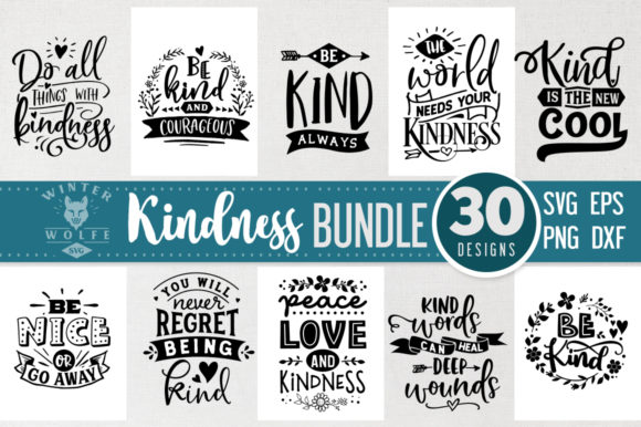 Download Free Kindness Bundle 30 Designs Graphic By Winterwolfesvg Creative for Cricut Explore, Silhouette and other cutting machines.