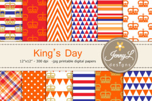 King's Day Netherlands Digital Papers Graphic Patterns By jennyL_designs