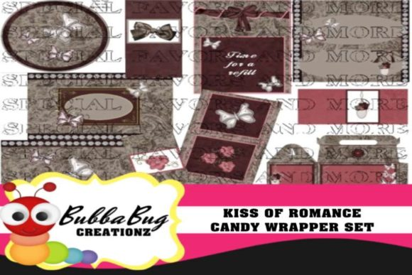 Kiss of Romance Candy Wrapper Set Graphic Crafts By BUBBABUG