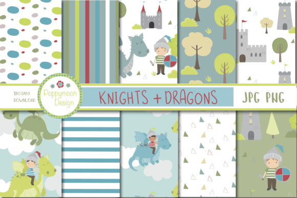 Print on Demand: Knights + Dragons Paper Graphic Patterns By poppymoondesign