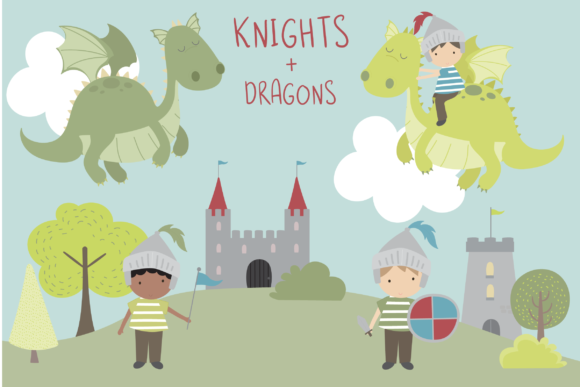 Print on Demand: Knights + Dragons Graphic Illustrations By poppymoondesign