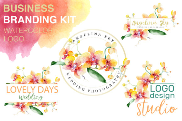Download Free Logo With Beautiful Orchids Watercolor Graphic By Mystocks for Cricut Explore, Silhouette and other cutting machines.